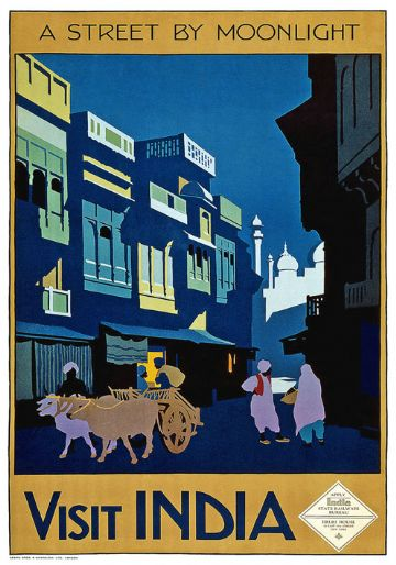 Visit India A Street By Moonlight Vintage Travel Poster